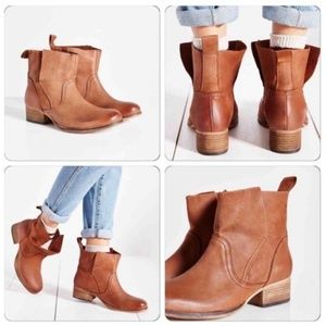 Ecote UO Tan Leather Overlap Heeled Ankle Boots